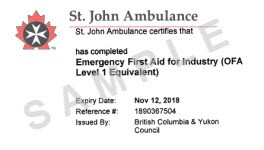Certificates Accepted In B C WorkSafeBC First Aid Certificate Template Word